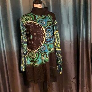 Long sleeve turtleneck midi dress